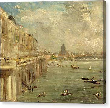 Somerset House Terrace From Waterloo Bridge Canvas Print by John Constable