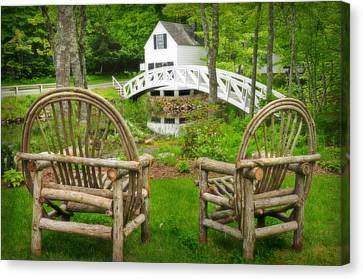 Somesville Maine - Arched Bridge Canvas Print by Thomas Schoeller
