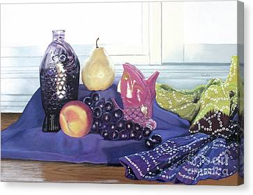 Canvas Print featuring the painting Something Fishy by Cindy Lee Longhini