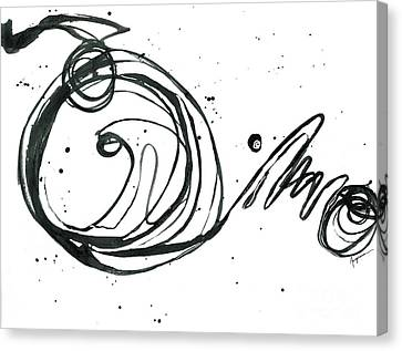 Something Gotta Give - Revolving Life Collection - Modern Abstract Black Ink Artwork Canvas Print