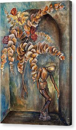 Roses, Eucalyptus And Wood Manikin  On Arch - Still Life Canvas Print by Catalina Diaz