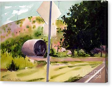 Canvas Print featuring the painting Somewhere Near Fort Sill Oklahoma by Charlie Spear