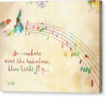 Movie Art Canvas Print - Somewhere Over The Rainbow by Nikki Smith