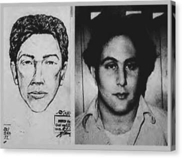 Son Of Sam David Berkowitz Mug Shot And Police Sketch Canvas Print by Tony Rubino