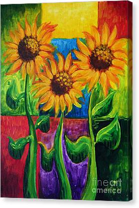Canvas Print featuring the painting Sonflowers II by Holly Carmichael
