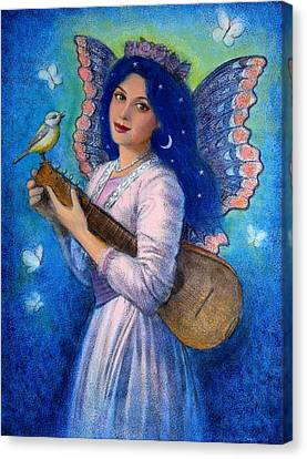 Songbird For A Blue Muse Canvas Print by Sue Halstenberg