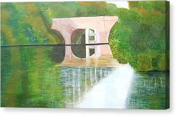 Sonning Bridge In Autumn Canvas Print