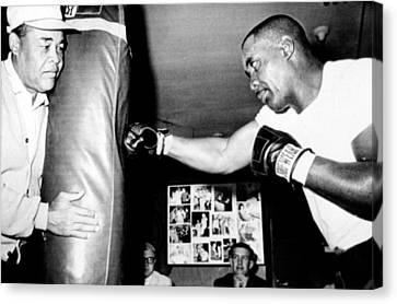 Sonny Liston Working Out On The Heavy Canvas Print by Everett
