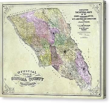 Sonoma County Map 1900 Canvas Print