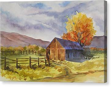 Canvas Print featuring the painting Sonora Barn by Pat Crowther