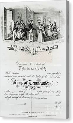 Sons Of Temperance Certificate Canvas Print by Photo Researchers