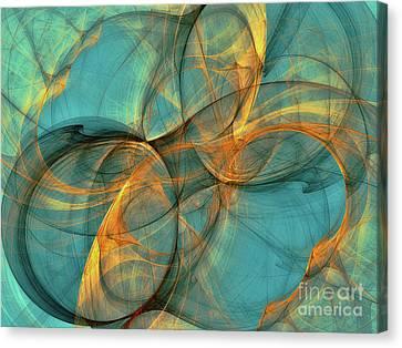 Canvas Print featuring the digital art Soothing Blue by Deborah Benoit