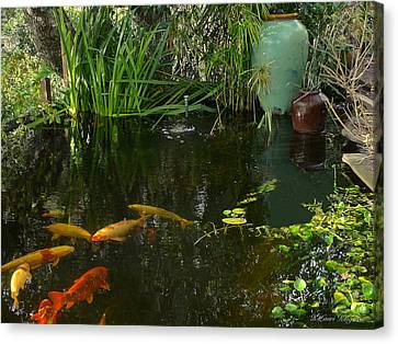 Canvas Print featuring the photograph Soothing Koi Pond by K L Kingston