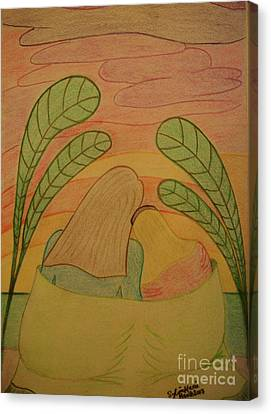 Tropical Sunset Canvas Print - Soothing Sunset - Mother And Daughter Bask In The Moment Leaning Heads Together-drawing by Sylvie Marie