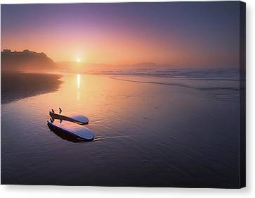 Surf Lifestyle Canvas Print - Sopelana Beach With Surfboards On The Shore by Mikel Martinez de Osaba
