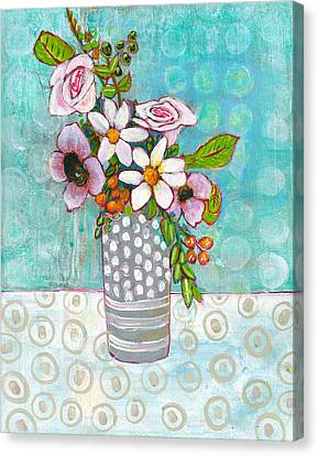 Sophia Daisy Flowers Canvas Print by Blenda Studio