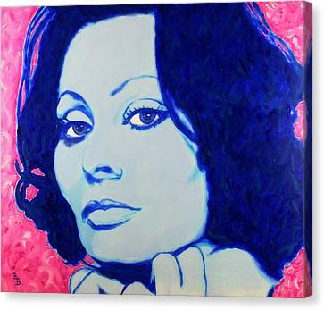 Canvas Print featuring the painting Sophia Loren Pop Art Portrait by Bob Baker