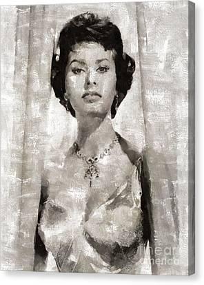 Sophia Loren, Vintage Actress By Mary Bassett Canvas Print