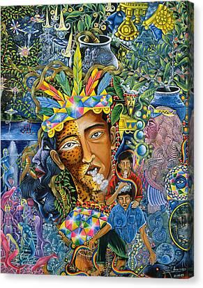 Ayahuasca Visions Canvas Print - Soplo De Banco Puma by Pablo Amaringo