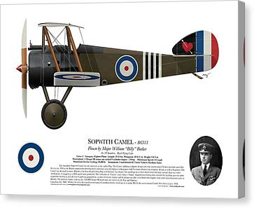 Sopwith Camel - B6313 June 1918 - Side Profile View Canvas Print