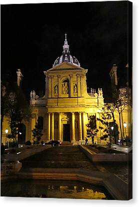 Canvas Print featuring the photograph Sorbonne Night by Christopher Kirby