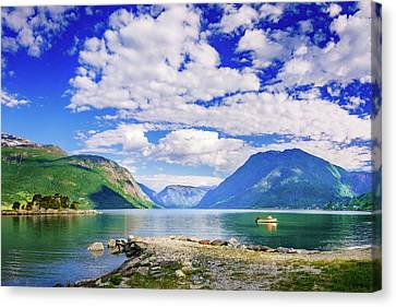 Canvas Print featuring the photograph Soreimsfjorden by Dmytro Korol
