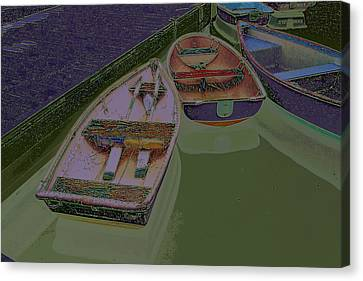 Canvas Print featuring the photograph Sorrento Harbor Boats With Sabattier by Bill Barber
