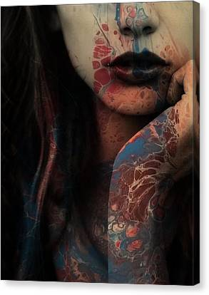 Red Lips Canvas Print - Sorry Seems To Be The Hardest Word  by Paul Lovering