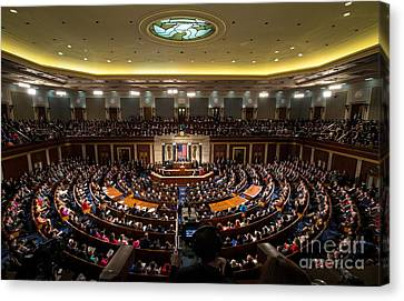 Sotu At U.s. Congress Joint Session Canvas Print by Science Source