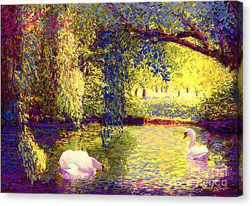 Weeping Willow Canvas Print - Swans, Soul Mates by Jane Small