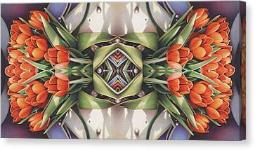 Soul Plexus - Tulips With Pearl Chakras Canvas Print by Amy S Turner