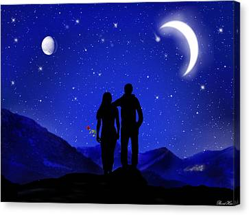 Canvas Print featuring the digital art Soulmates by Bernd Hau