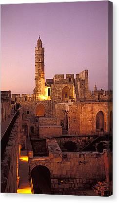 Sound And Light Show At Jerusalem City Canvas Print by Richard Nowitz