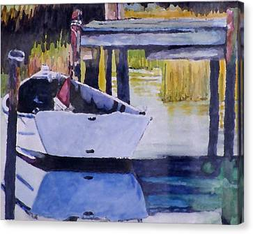 Canvas Print featuring the painting Sound Side Dock by Jim Phillips