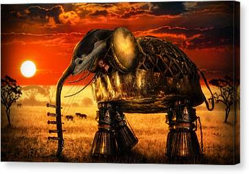 Yellow Elephant Canvas Print - Sounds Of Cultures by Alessandro Della Pietra