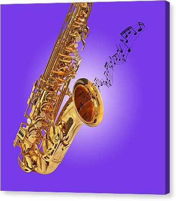 Sounds Of The Sax In Purple Canvas Print by Gill Billington