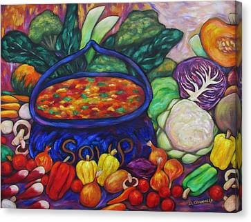 Soup In A Blue Pot Canvas Print