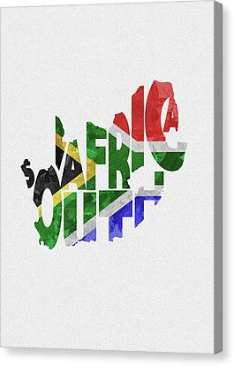 South Africa Canvas Print - South Africa Typographic Map Flag by Inspirowl Design
