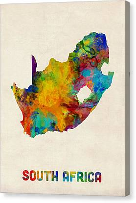 South Africa Canvas Print - South Africa Watercolor Map by Michael Tompsett