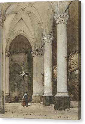 South Aisle Of The Grote Kerk In The Hague, With Seventeenth-century Figures Canvas Print by Johannes Bosboom