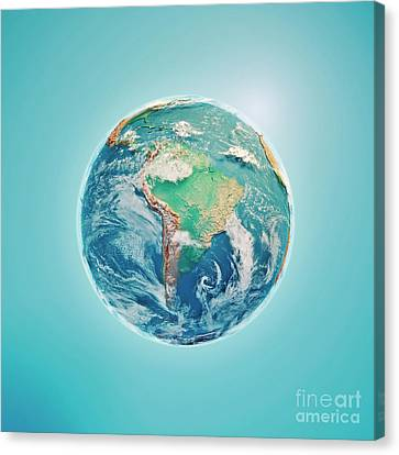 South America 3d Render Planet Earth Clouds Canvas Print