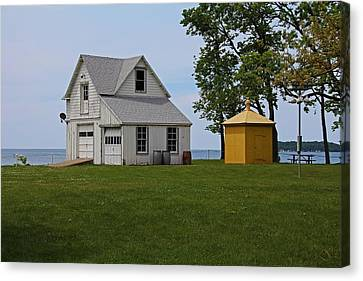 South Bass Island Lighthouse Barn And Oil Storage Building I Canvas Print by Michiale Schneider