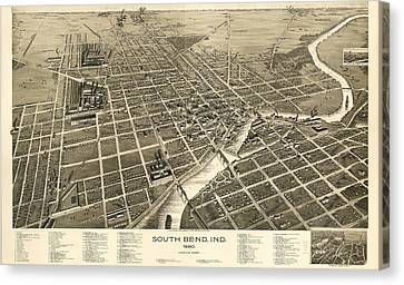 South Bend Indiana 1890 Canvas Print
