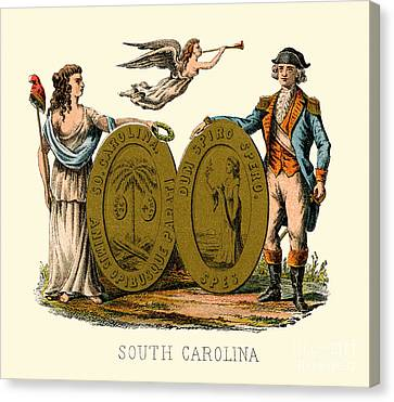 South Carolina State Arms Of The Union Canvas Print by Celestial Images