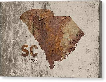South Carolina State Map Industrial Rusted Metal On Cement Wall With Founding Date Series 010 Canvas Print by Design Turnpike