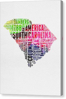 South Carolina Watercolor Word Cloud Canvas Print by Naxart Studio