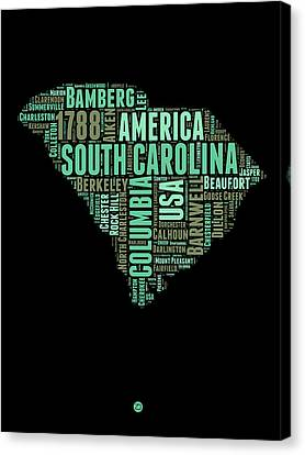 South Carolina Word Cloud 2 Canvas Print by Naxart Studio