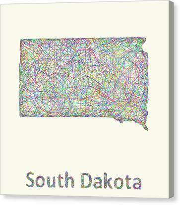 South Dakota Line Art Map Canvas Print by David Zydd