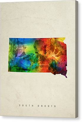 South Dakota State Map 03 Canvas Print
