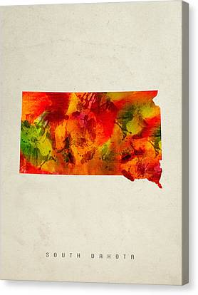 South Dakota State Map 04 Canvas Print